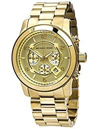 45mm Case Chronograph - Michael Kors MK8077 Men's Runaway Analog Display Chronograph Quartz Watch, Gold Stainless Steel Bracelet, Round, 45mm Case