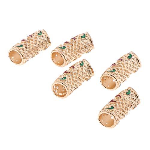 Fenteer 5x Hair Tube Beads Dreadlocks Beads Hair Braiding Jewelry Hair Decoration Accessories,Retro Tibetan Style