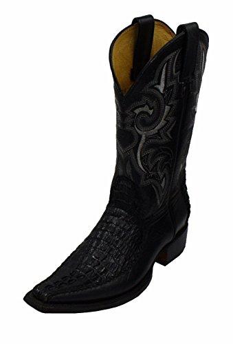 Heren Lederen Krokodil Belly Reliëf Leer Cowboy Handgemaakte Laarzen Zwart