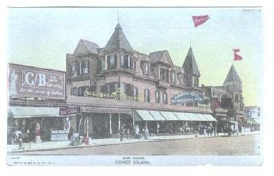 Surf Ave at Coney Island Brooklyn New York Postcard Albemarle Hotel