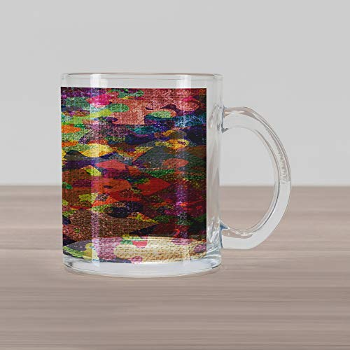 (Lunarable Grunge Glass Mug, Grunge Illustration with Colorful Jigsaw Puzzles Stationery Artistic Design Print, Printed Clear Glass Coffee Mug Cup for Beverages Water Tea Drinks, Fuchsia Green)