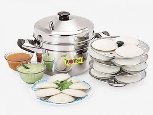 Tabakh HIC-204 4-Rack Stainless Steel Idli Cooker w/Hawkins Type Stand, Makes 12 Idlis