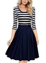 Miusol Women's Navy Style Stripe Scoop Neck 2/3 Sleeve Casual Swing Dress