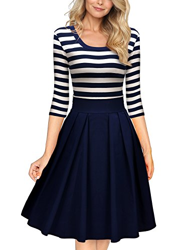 Miusol Women's Navy Style Stripe Scoop Neck 2/3 Sleeve Casual Swing Dress, Navy Blue, Large