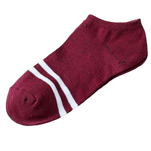 Fashion Striped Unisex Casual Socks Comfortable No Show Invisible Liner Skateboard Sock (Red)