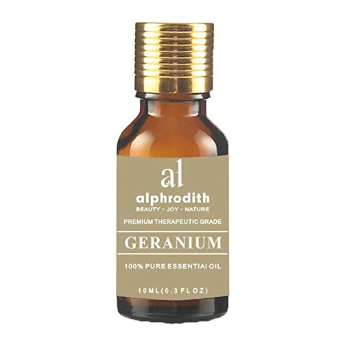 Alphrodith Aromatherapy Geranium Essential Oil 100% Organic Pure Undiluted Therapeutic Grade Scented Oils - 10ml for Diffuser, Relaxation, Skin Therapy & More (Oil Aromatherapy Geranium)
