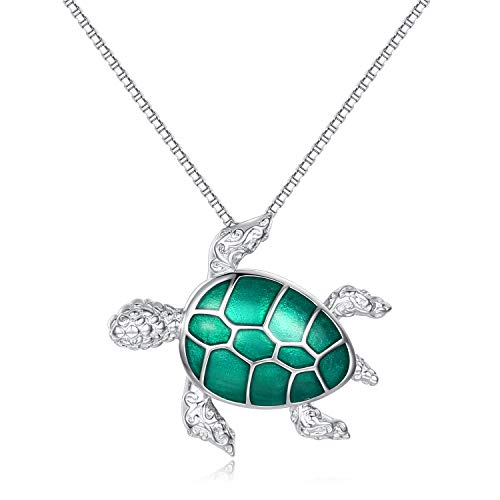 925 Sterling Silver Sea Turtle Pendant Necklace Tortoise Animal Jewelry for Women Girls (Green Turtle)
