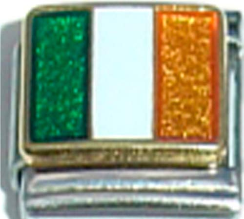 Stylysh Charms Ireland Irish Flag Ceramic Italian 9mm Link PQ025