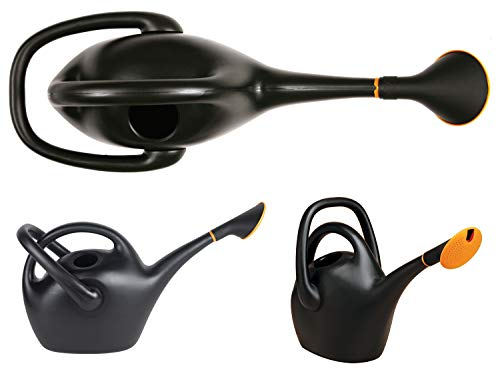 Fiskars 2.6 Gallon Easy Pour Black Watering Can