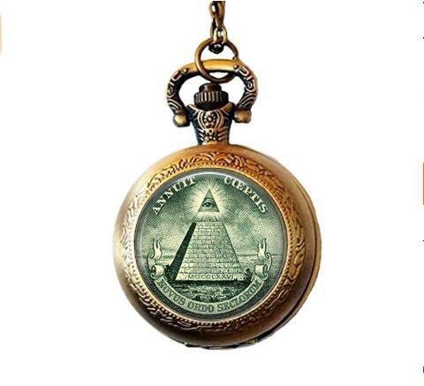 stap All Seeing Eye - Illuminati Dollar Bill - Eye of Providence - Pyramid - Dollar Bill Pocket Watch Necklace (Dollar Bill Gift Box)