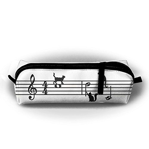 DING Lovely Cat Notation Tune Pencil Case Large Capacity Durable Students Pen Bag Waterproof Oxford Zipper Cosmetic Make Up Pouch]()