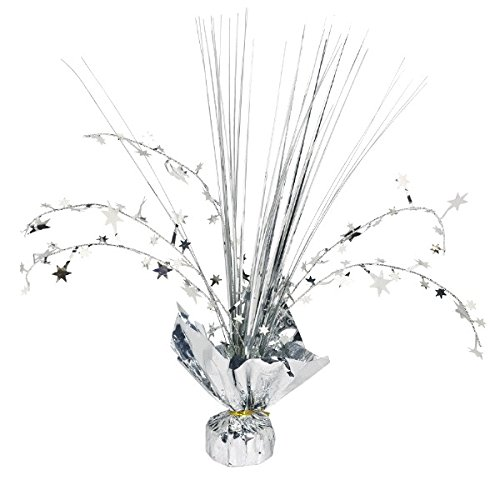 Amscan 12-inch Foil Spray Centrepiece Party Accessory, Silver Amscan International 110002.18