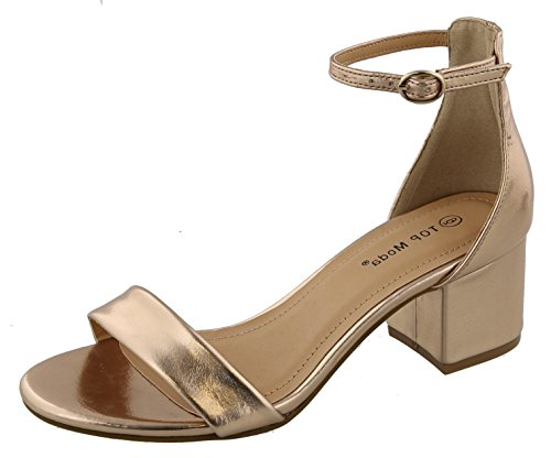 TOP Moda Women's Ankle Strappy Chunky Stacked Block Heel Open Toe Sandal,6.5 M US,Champagne