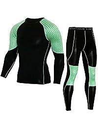 Bmeigo Men Sport Clothing Set Compression Running Gym Shirt Pants Cool Dry Suit