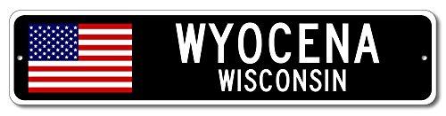 "WYOCENA, WISCONSIN USA City Flag Sign Aluminum Patriotic Sign - 6""x24"" Quality Aluminum Sign"