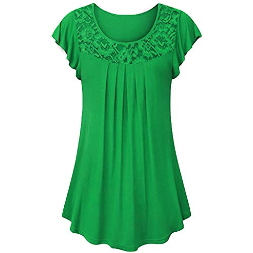 TWGONE Tunic Tops for Leggings for Women Short Sleeve Ladies Solid Lace Patchwork Ruched Blouse Shirt (Green,Medium) ()