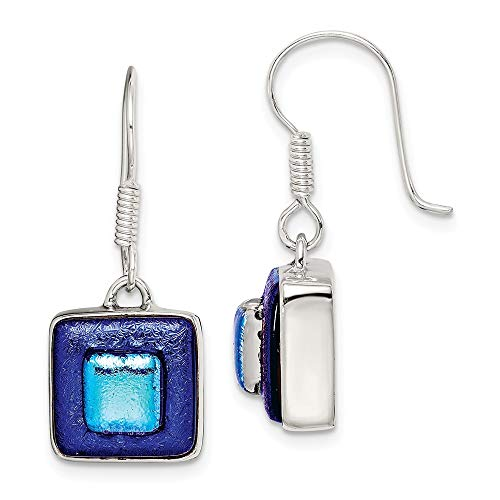 925 Sterling Silver Blue Dichroic Glass Square Shaped Drop Dangle Chandelier Earrings Fine Jewelry Gifts For Women For Her Dichroic Glass Square Earrings