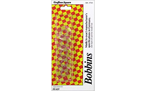 Gingham Square Sewing Thread Bobbins Art 1761 For All PFAFF Sewing Machines (6pk) Clear