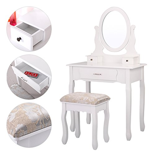 JAXPETY 3 Drawers Vanity Table Set with Mirror and Cushioned Stool Makeup Dressing Table Organizer Bedroom, White Finish by JAXPETY
