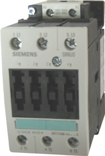 Siemens 3RT10 35-1AP60 Motor Contactor, 3 Poles, Screw Terminals, S2 Frame Size, 240V at 60Hz and 220V at 50Hz AC Coil Voltage Voltage