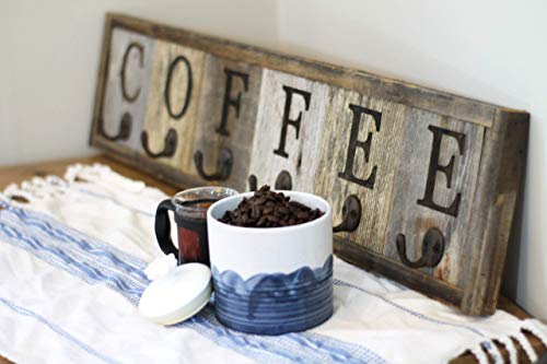 Barnwood Coffee Mug Rack Wall Mounted, Hanging Cup Holder, Decorative Display Storage for the Kitchen, Wooden Farmhouse Cafe Sign ()