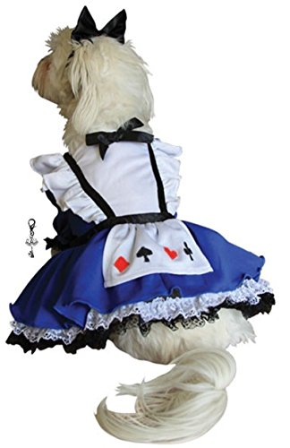 "Alice in Wonderland Dress Costume with Charm and Bow Headpiece - for Dogs - Sizes XS thru L (S/M – Chest 14-16"", Neck 9-10.5"", Back 10.75"