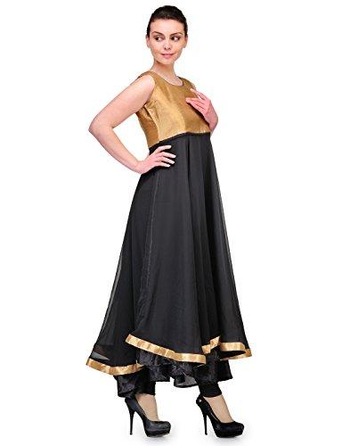 Cenizas-Womens-Indian-Tunic-Top-Georgette-Kurti-Large-Black