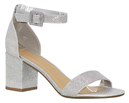 - MVE Shoes Chunky Block Heel Dress Sandal Over Toe & Ankle Wrap Strap, Silver Shmer 9