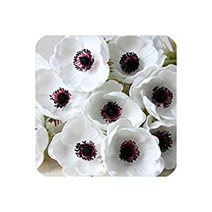 10Pcs/Lot Artificial Single Head Anemone/Flower Home Living Room Decoration Fake Flower Wedding Scene Layout Photo Props,White