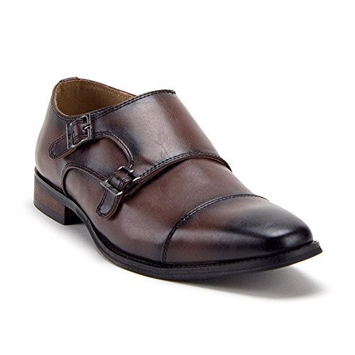 Men's D-491 Distressed Double Monk Strap Casual Loafers Dress Shoes, Dark Brown, ()