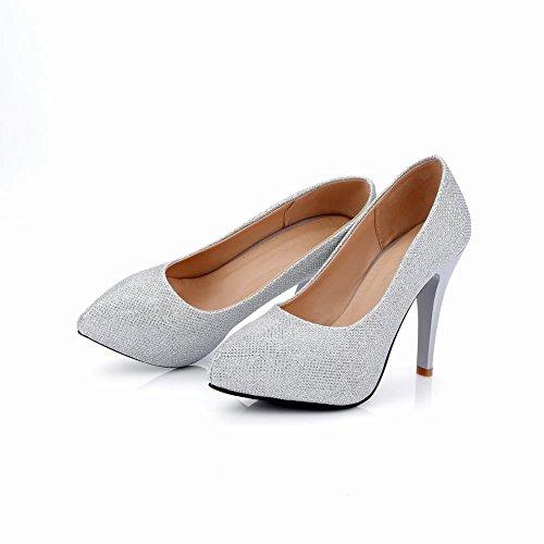 MissSaSa Damen high heel Pointed Toe stiletto Pumps Silber(Synthetik)