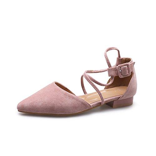 De Adolescente Baotou Base Mujer Las Femenina Verano De El Rosa En Plana Con Sandalias GAOLIM De Tendencia Punto Una Transversales Vuelven Zapatos De Verano Tiras Luz gUwXA