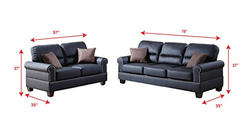 Poundex F7877 Bobkona Shelton Bonded Leather 2 Piece Sofa and Loveseat Set, Black