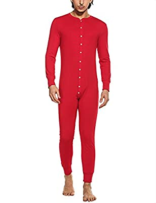 HOTOUCH Mens Casual Round Neck Long Sleeve Onesie Pajamas Solid Button Down Sleep Wear Jumpsuit Bodysuit Union Suit S-XXL