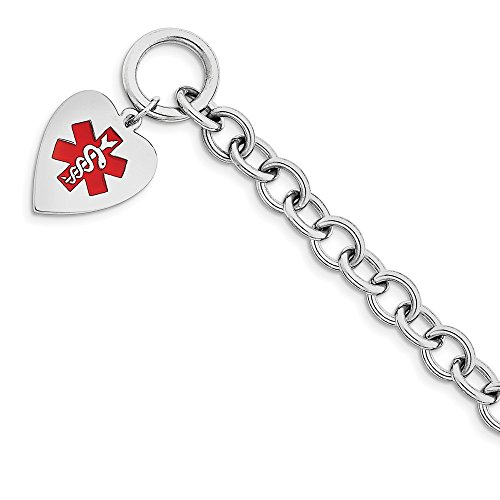 Solid 925 Sterling Silver Engraveable Enamel Heart Medical ID Bracelet (18mm) by Sonia Jewels (Image #3)