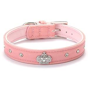 BINGPET BA2022X Cute Designer Rhinestone Dog Collars with Diamond Crown for Puppy Pet - Pink Small
