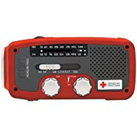 Etón American Red Cross ARCFR160WXR Microlink Self-Powered AM/FM/NOAA Weather Radio with Flashlight, Solar Power and Cell Phone Charger (Red)