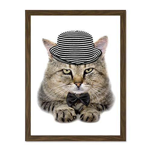 Wee Blue Coo Photo Composition Cat Hat Bow Tie Stripes Fur Feline Eyes Large Framed Art Print Poster Wall Decor 18x24 inch