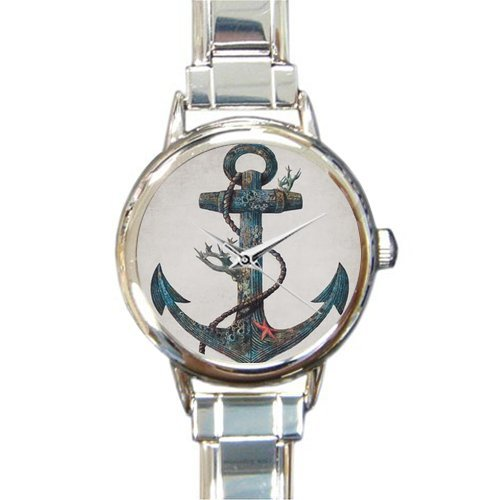 Christmas Day Gift Retro Anchor Art Pattern Round Italian Charm stainless steel Watch