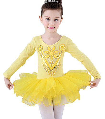 Little Girls Seamless Sequin Flowers Ballet Dancewear Dress Long-sleeve Tutu Skirts Costumes Leotard Yellow XS