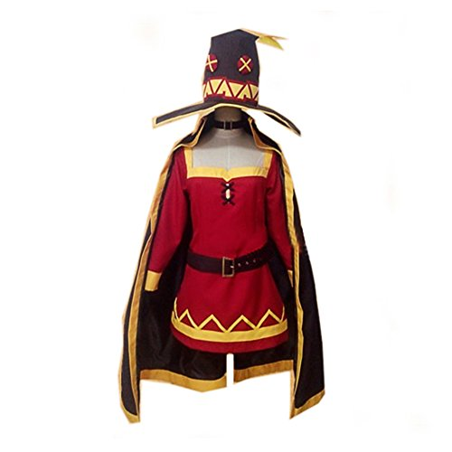 Megumin Costume Deluxe Deep Red Uniform Cloth Dress CL Suba Cosplay (Good Famous People Costumes)