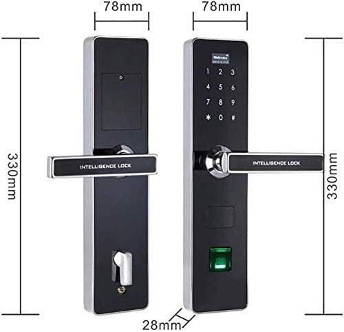 指紋指紋南京錠、指紋南京錠、ステンレス鋼指紋電子キーパッド入力指紋南京錠デッドボルトカード、アパート/オフィス/家、ロックを解除する2つの方法