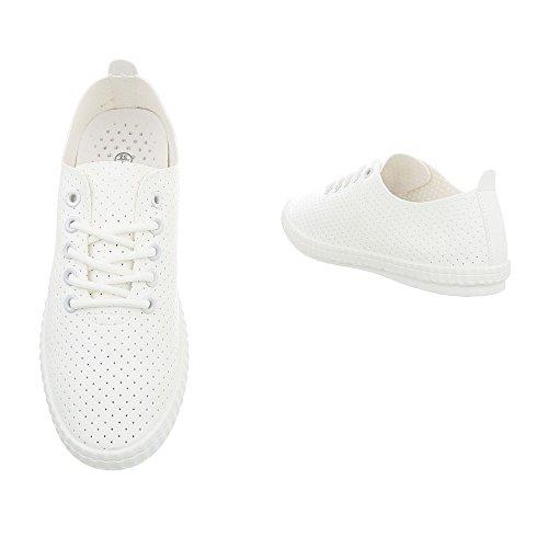 Ital-Design Sneakers Low Damenschuhe Schnürsenkel Freizeitschuhe Weiß 1838-5