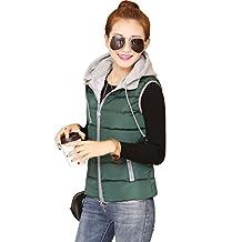 Yeokou Women's Slim Quilt Cotton Padded Short Puffer Hoodie Down Vest Waistcoat