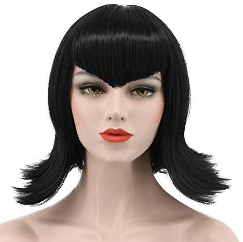 (Karlery Women's Short Bob Wave Black Wig Halloween Cosplay Wig Anime Costume Party)