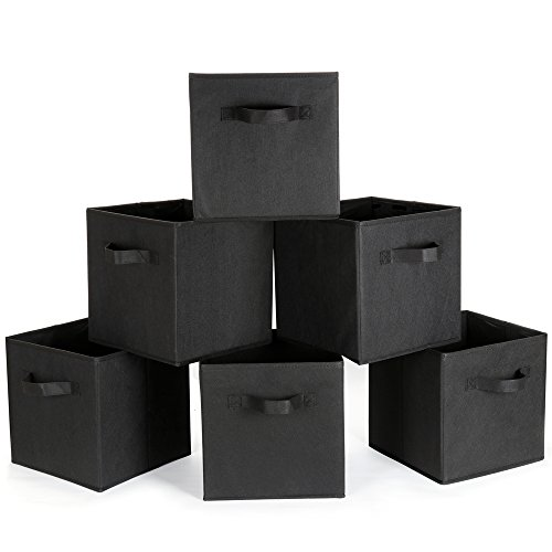 Aammaxs Foldable Storage Cubes Bins Cloth Baskets Containers Nursery Home Closet Bedroom Drawers Organizers, Set of 6 (Black)