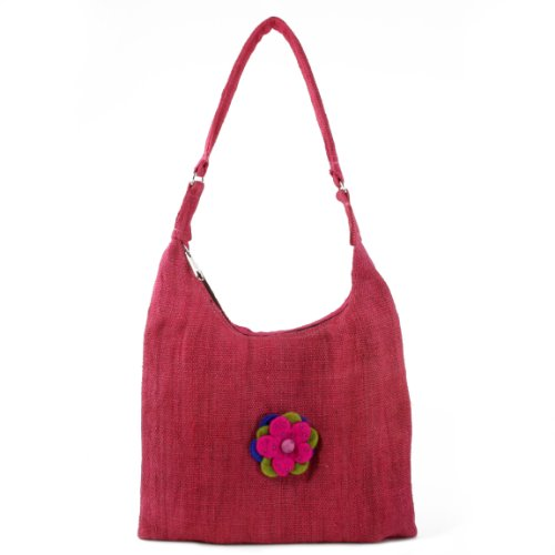 Earth-Divas-NHB-128-PNK-Zipper-Closure-Pink-Hemp-Handbag-with-Felt-Flower