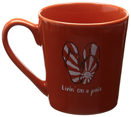- Life is good Adult Everyday Sun Rays Flip Flop Mug, Orange, One Size