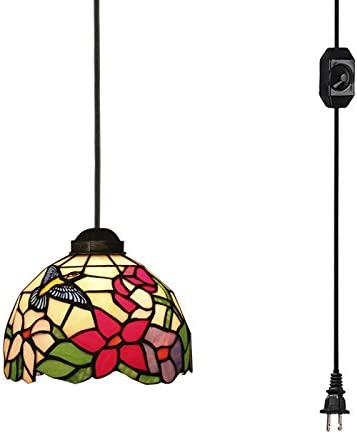 STGLIGHTING 15ft Plug-in UL Listed On/Off Dimmer Switch Cord Tiffany Style Colorful Handmade Mediterranean Glass Shade Antique Chandelier Decorative Pendant Light Bulb Not Included TB0454