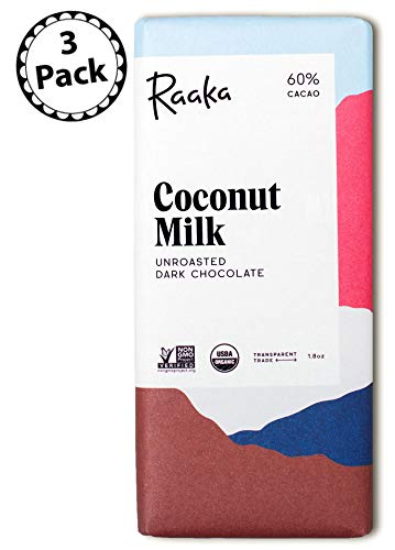 (Raaka Chocolate Coconut Milk Dark Chocolate 60% Cacao, (1.8oz Bar - 3 Pack), Organic, Non-GMO, Kosher Premium Craft Artisan Chocolate, Vegan, Gluten and Soy Free, Bittersweet, Bean-to-Bar Chocolate)